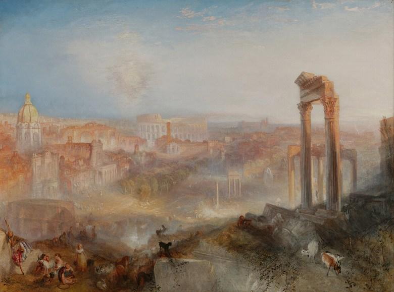 油絵 油彩画 絵画 複製画 ジョゼフ・マロード・ウィリアム・ターナー 近代ローマ、カンポ・ヴァチーノ  P10サイズ P10号  530x410mm すぐに飾れる豪華額縁付きキャンバス