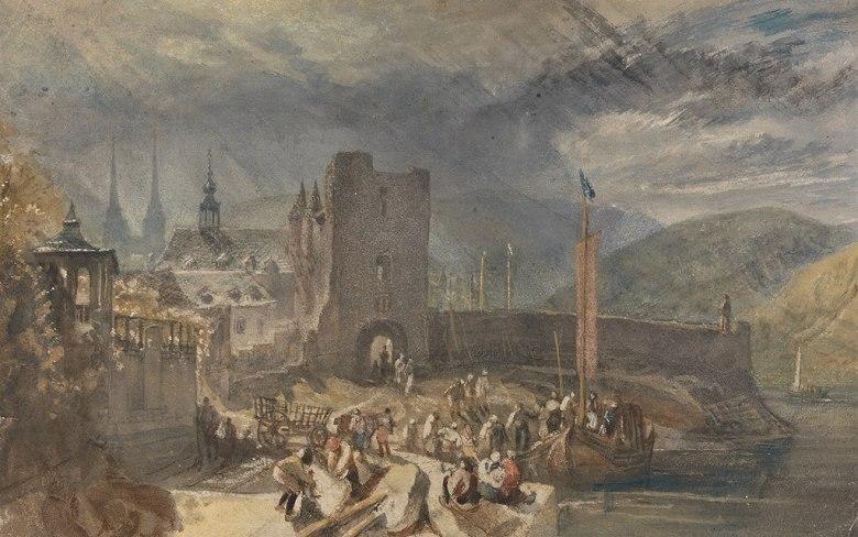 油絵 油彩画 絵画 複製画 ジョゼフ・マロード・ウィリアム・ターナー 川岸のボッパルトの眺め  M10サイズ M10号  530x333mm すぐに飾れる豪華額縁付きキャンバス
