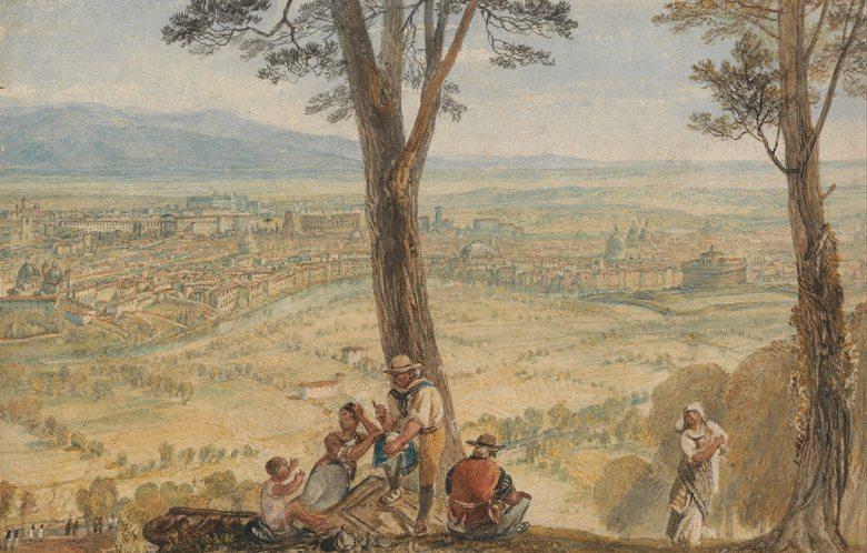 油絵 油彩画 絵画 複製画 ジョゼフ・マロード・ウィリアム・ターナー モンテ・マリオからのローマ  M10サイズ M10号  530x333mm すぐに飾れる豪華額縁付きキャンバス