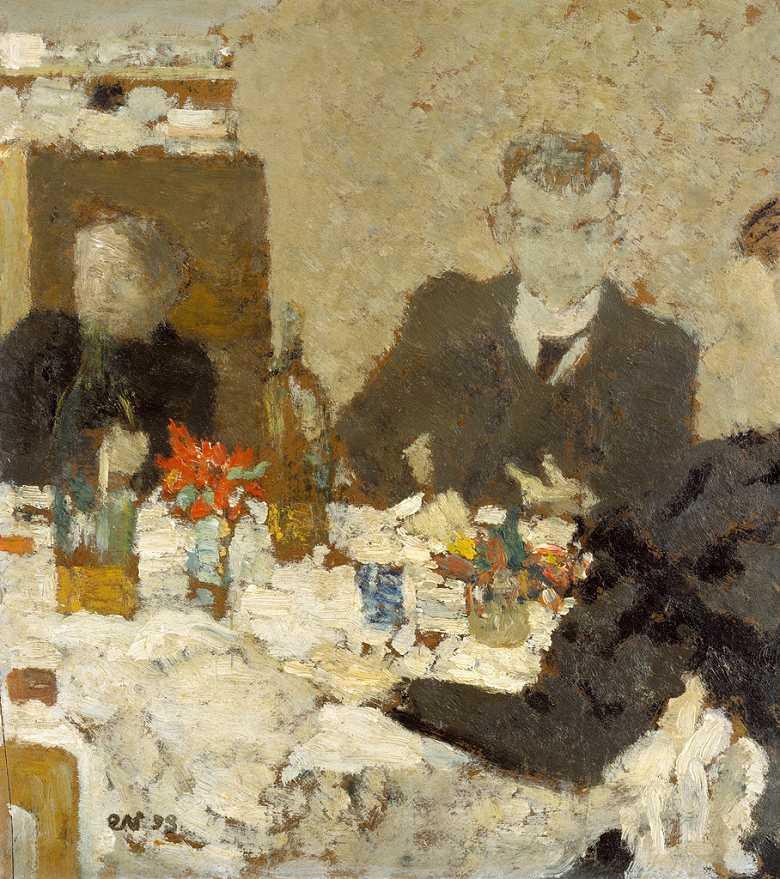 油絵 エドゥアール・ヴュイヤール テーブルにて  F12サイズ F12号  606x500mm 油彩画 絵画 複製画 選べる額縁 選べるサイズ