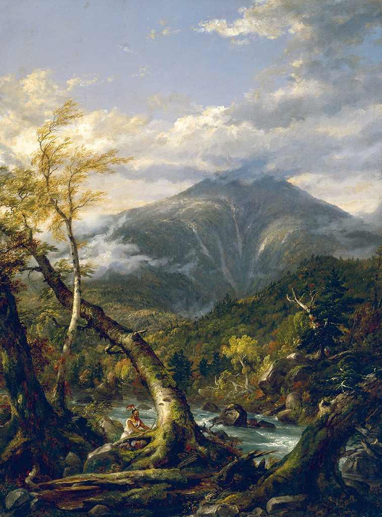 油絵 油彩画 絵画 複製画 トマス・コール タホウスを通るインディアン  P10サイズ P10号  530x410mm すぐに飾れる豪華額縁付きキャンバス