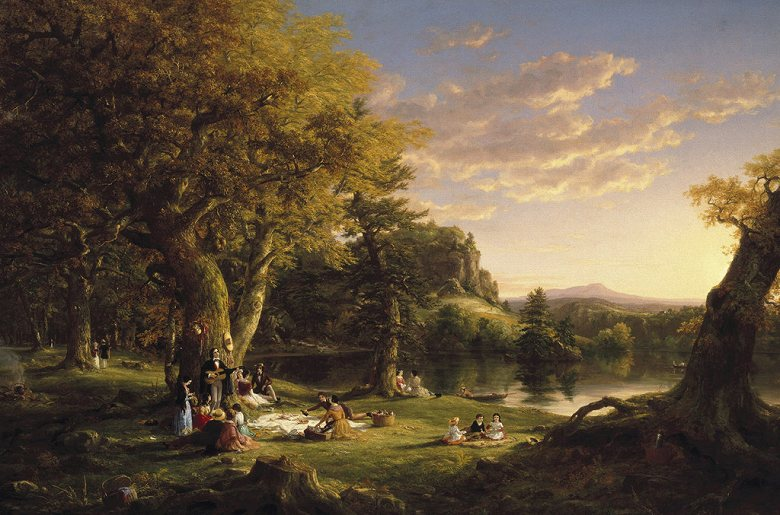 油絵 油彩画 絵画 複製画 トマス・コール ピクニック  M10サイズ M10号  530x333mm すぐに飾れる豪華額縁付きキャンバス