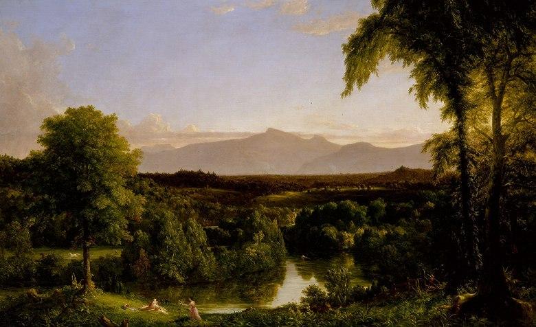 油絵 油彩画 絵画 複製画 トマス・コール キャッツキル山地の眺め、初秋  M10サイズ M10号  530x333mm すぐに飾れる豪華額縁付きキャンバス