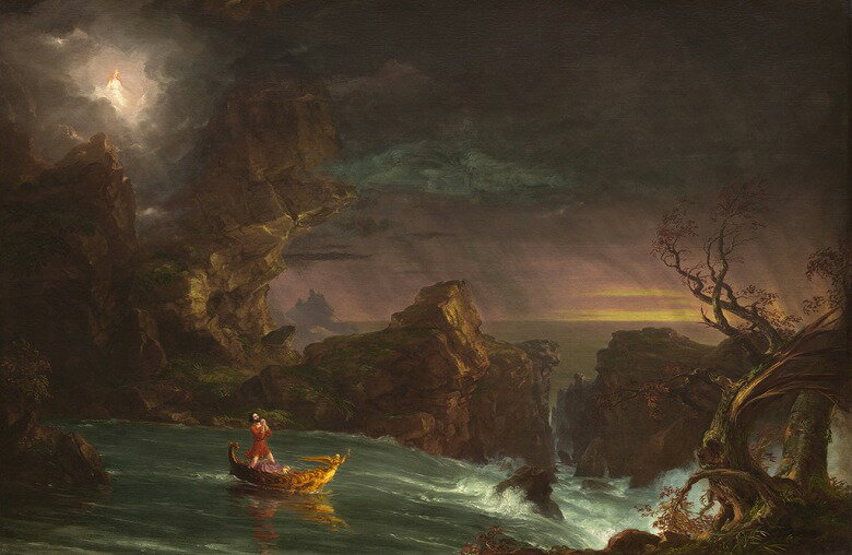 油絵 トマス・コール 人生の旅路、壮年期  M12サイズ M12号  606x410mm 油彩画 絵画 複製画 選べる額縁 選べるサイズ