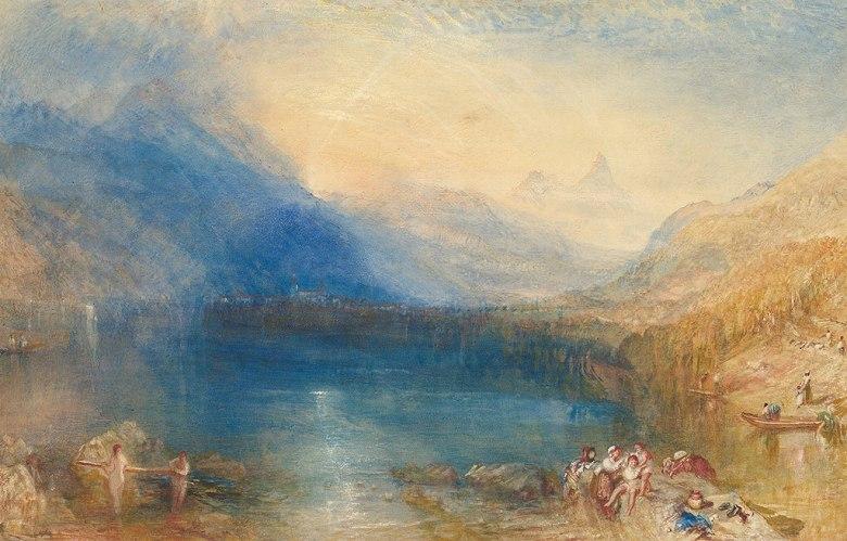 油絵 油彩画 絵画 複製画 ジョゼフ・マロード・ウィリアム・ターナー ツーク湖  M10サイズ M10号  530x333mm すぐに飾れる豪華額縁付きキャンバス