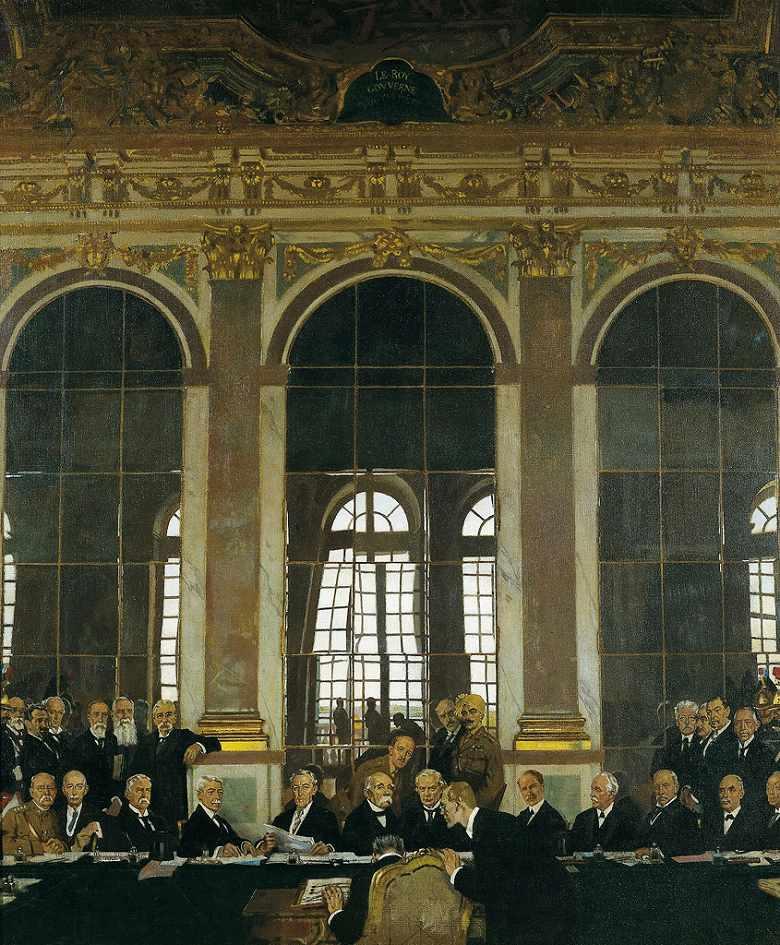 油絵 ウィリアム・オーペン ヴェルサイユ宮殿、鏡の間における講和条約調印、1919年6月28日  F12サイズ F12号  606x500mm 油彩画 絵画 複製画 選べる額縁 選べるサイズ