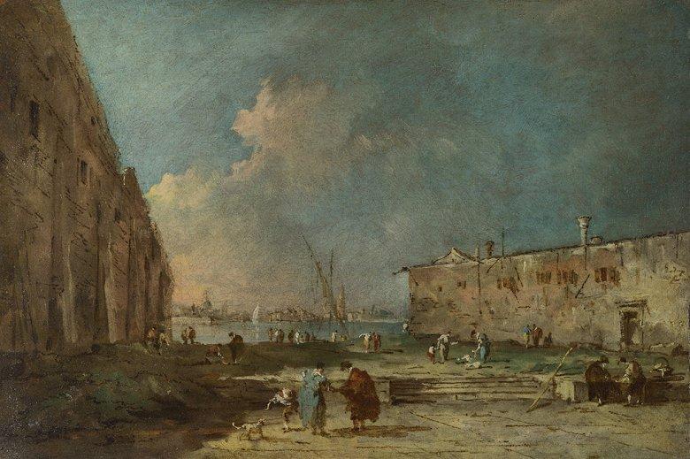油絵 油彩画 絵画 複製画  フランチェスコ・グアルディ ヴェネツィア近郊の眺め  M10サイズ M10号  530x333mm すぐに飾れる豪華額縁付きキャンバス