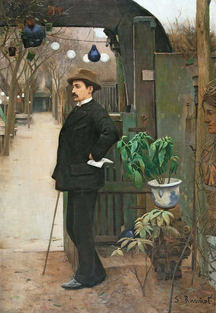 油絵 サンティアゴ・ルシニョール ミゲル・ウトリリョの肖像  P12サイズ P12号  606x455mm 油彩画 絵画 複製画 選べる額縁 選べるサイズ