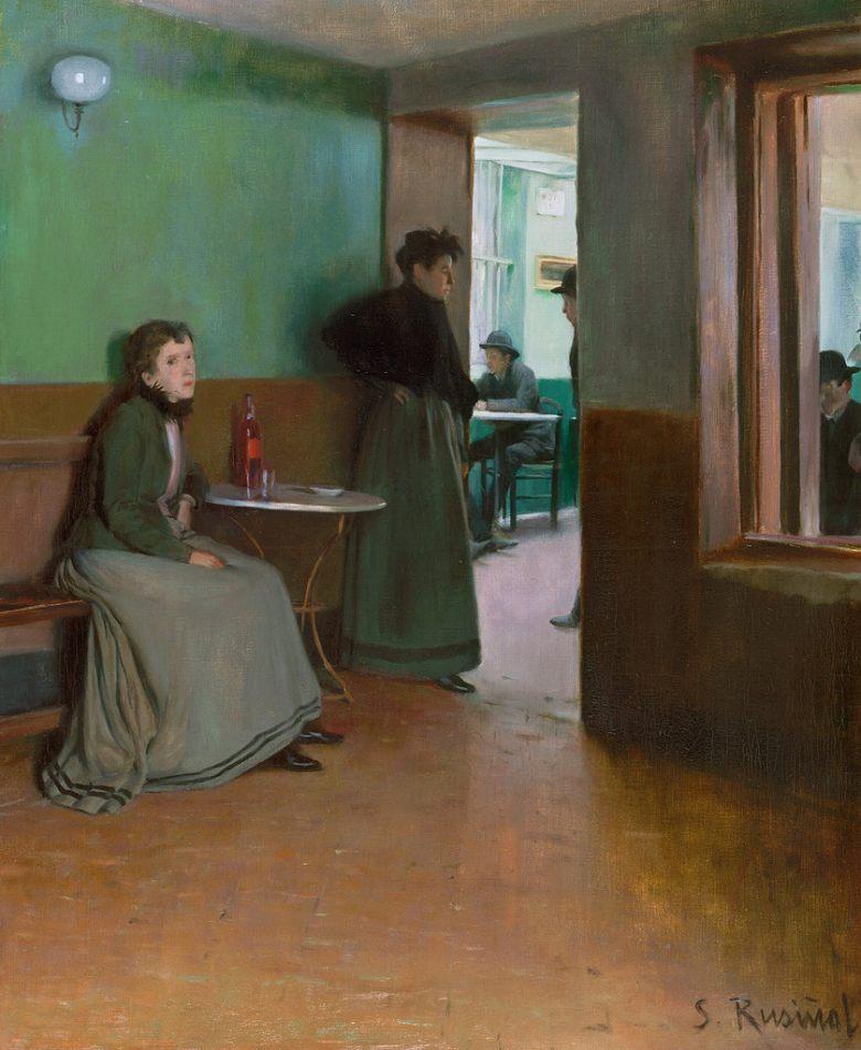 油絵 サンティアゴ・ルシニョール カフェ  F12サイズ F12号  606x500mm 油彩画 絵画 複製画 選べる額縁 選べるサイズ