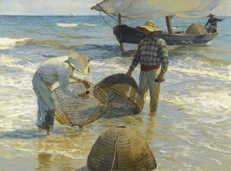 絵画 インテリア 額入り 壁掛け 油絵  ホアキン・ソローリャ バレンシアの漁師  P15サイズ P15号  652x500mm 油彩画 複製画 選べる額縁 選べるサイズ