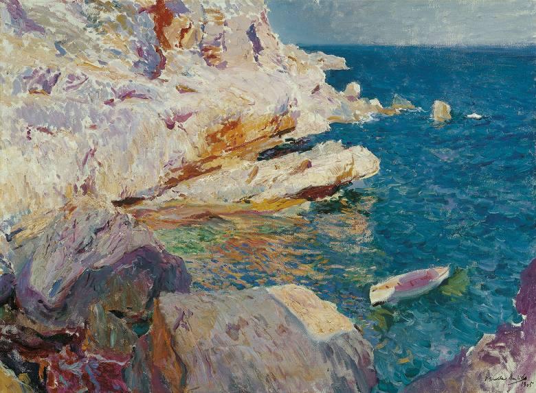 油絵 油彩画 絵画 複製画  ホアキン・ソローリャ ハベアの岩と白いボート  P10サイズ P10号  530x410mm すぐに飾れる豪華額縁付きキャンバス
