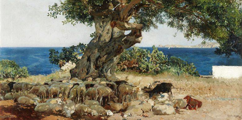 油絵 油彩画 絵画 複製画  ホアキン・ソローリャ キャロブの木  F10サイズ F10号  530x455mm すぐに飾れる豪華額縁付きキャンバス