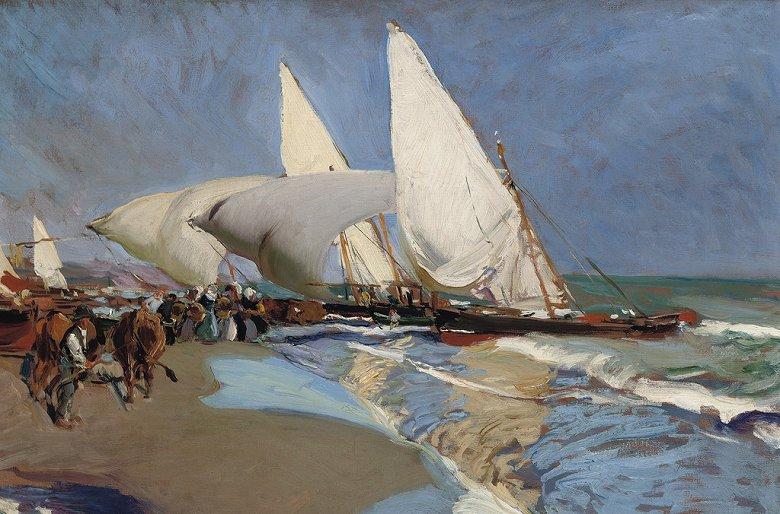 油絵 油彩画 絵画 複製画  ホアキン・ソローリャ バレンシアの浜辺  M10サイズ M10号  530x333mm すぐに飾れる豪華額縁付きキャンバス