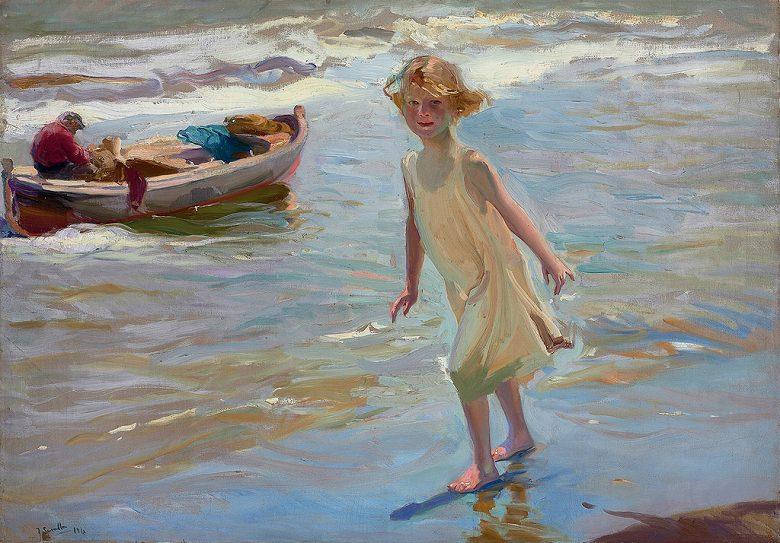 油絵  ホアキン・ソローリャ バレンシアの浜辺の少女  P12サイズ P12号  606x455mm 油彩画 絵画 複製画 選べる額縁 選べるサイズ