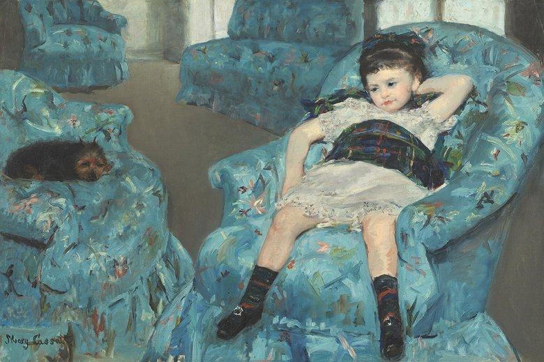 絵画 インテリア 額入り 壁掛け 油絵  メアリー・カサット 青い肘掛け椅子の上の少女  M15サイズ M15号  652x455mm 油彩画 複製画 選べる額縁 選べるサイズ