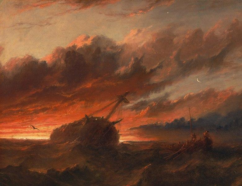 油絵 油彩画 絵画 複製画 フランシス・ダンビー 難破船  F10サイズ F10号  530x455mm すぐに飾れる豪華額縁付きキャンバス