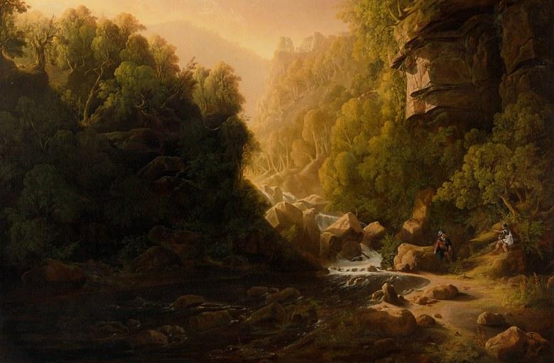油絵 油彩画 絵画 複製画 フランシス・ダンビー 山流  M10サイズ M10号  530x333mm すぐに飾れる豪華額縁付きキャンバス