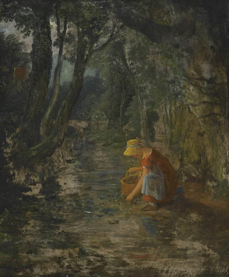 油絵 フランシス・ダンビー 森の小川の側でベリーを摘む少女  F12サイズ F12号  606x500mm 油彩画 絵画 複製画 選べる額縁 選べるサイズ