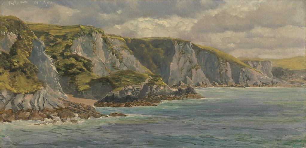 油絵 油彩画 絵画 複製画 ジョン・ブレット ウェールズの海岸  F10サイズ F10号  530x455mm すぐに飾れる豪華額縁付きキャンバス
