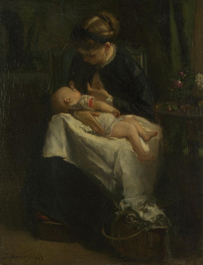 油絵  ヤコブ・マリス 赤ちゃんに授乳している若い女性  F12サイズ F12号  606x500mm 油彩画 絵画 複製画 選べる額縁 選べるサイズ