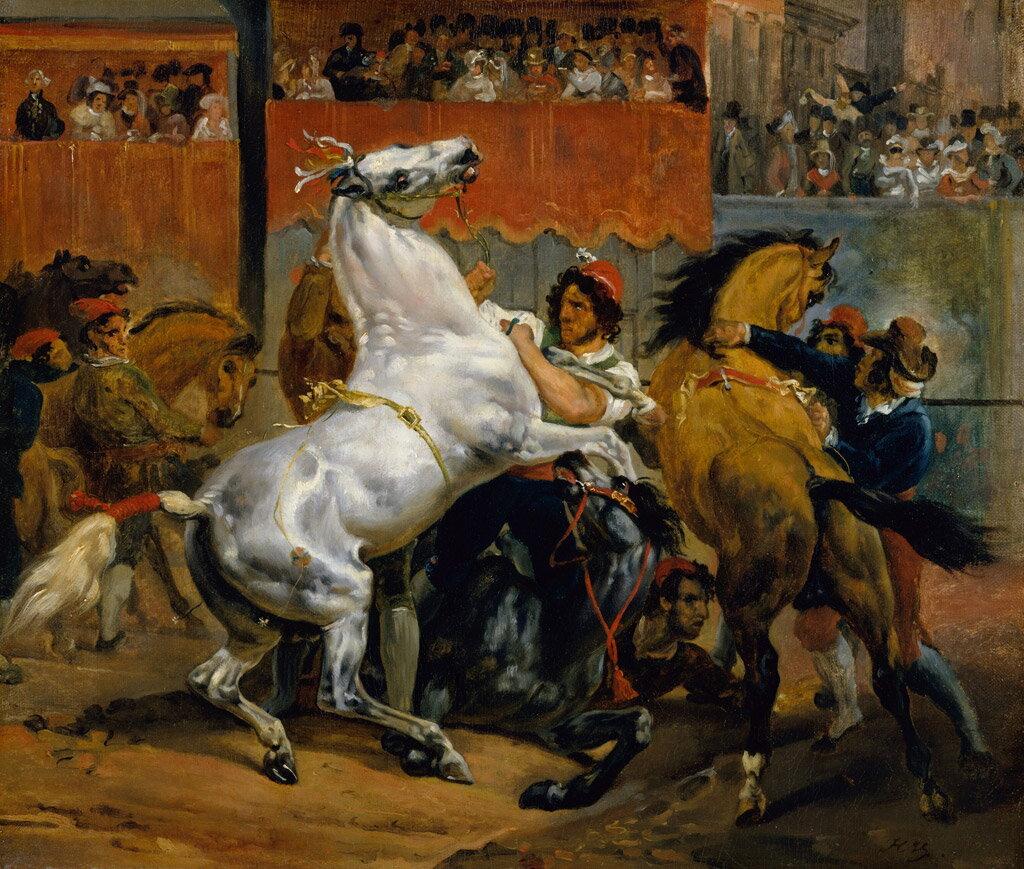 油絵 オラース・ヴェルネ 騎手無し競馬のスタート  F12サイズ F12号  606x500mm 油彩画 絵画 複製画 選べる額縁 選べるサイズ