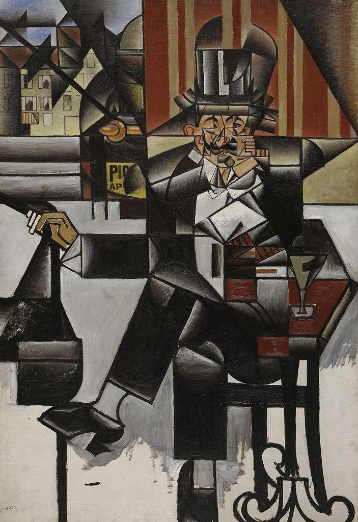 絵画 インテリア 額入り 壁掛け 油絵 フアン・グリス カフェの男性  P15サイズ P15号  652x500mm 油彩画 複製画 選べる額縁 選べるサイズ