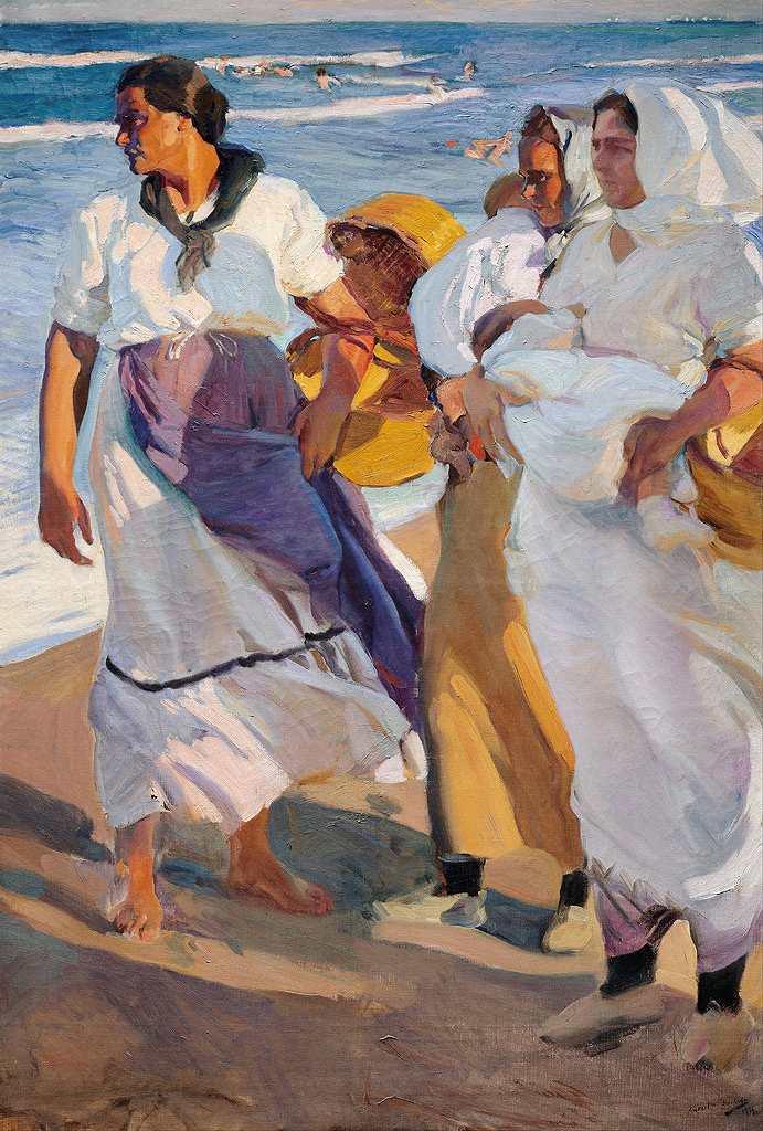 絵画 インテリア 額入り 壁掛け 油絵  ホアキン・ソローリャ バレンシアの女漁師  P15サイズ P15号  652x500mm 油彩画 複製画 選べる額縁 選べるサイズ