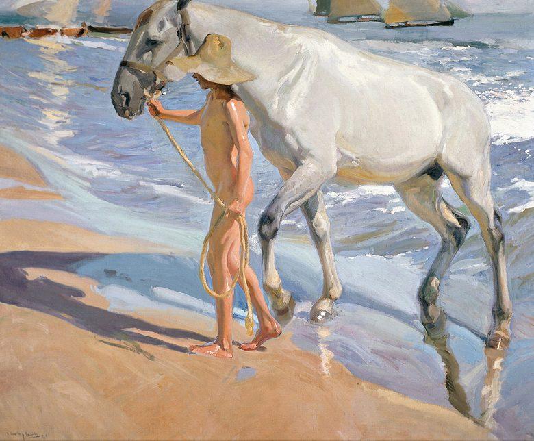 絵画 インテリア 額入り 壁掛け 油絵  ホアキン・ソローリャ 馬の入浴  F15サイズ F15号  652x530mm 油彩画 複製画 選べる額縁 選べるサイズ