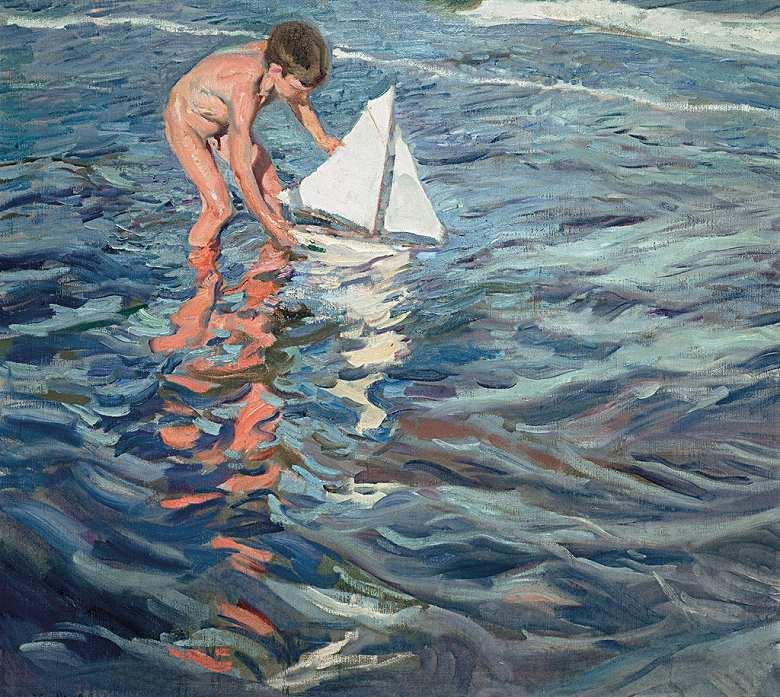 絵画 インテリア 額入り 壁掛け 油絵  ホアキン・ソローリャ 小さな船  F15サイズ F15号  652x530mm 油彩画 複製画 選べる額縁 選べるサイズ