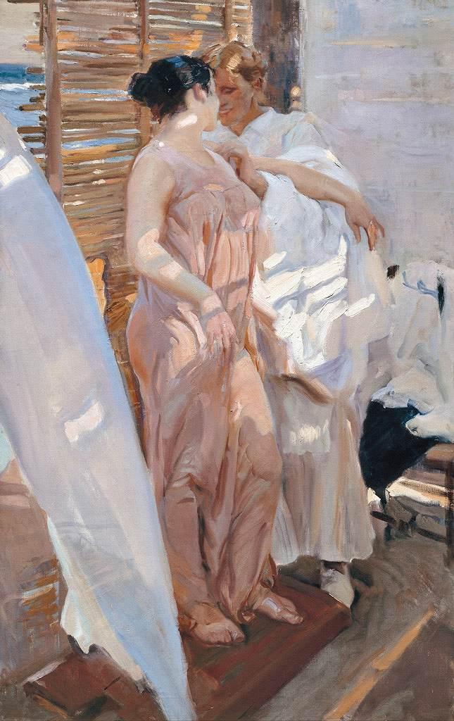 絵画 インテリア 額入り 壁掛け 油絵  ホアキン・ソローリャ ピンク色のローブ、入浴後  M15サイズ M15号  652x455mm 油彩画 複製画 選べる額縁 選べるサイズ