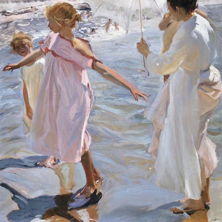 油絵  ホアキン・ソローリャ 入浴の時間、バレンシア  F12サイズ F12号  606x500mm 油彩画 絵画 複製画 選べる額縁 選べるサイズ