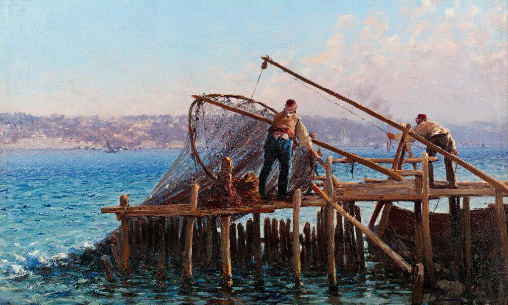 絵画 インテリア 額入り 壁掛け 油絵 ファウスト・ゾナロ 漁網を引き上げる漁師  F15サイズ F15号  652x530mm 油彩画 複製画 選べる額縁 選べるサイズ