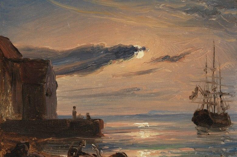 油絵 油彩画 絵画 複製画 トマス・ファーンリ イタリア南部の月明かりに照らされた港  F10サイズ F10号  530x455mm すぐに飾れる豪華額縁付きキャンバス