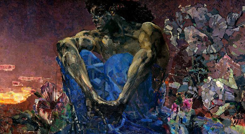 絵画 インテリア 額入り 壁掛け 油絵  ミハイル・ヴルーベリ 悪霊  F15サイズ F15号  652x530mm 油彩画 複製画 選べる額縁 選べるサイズ