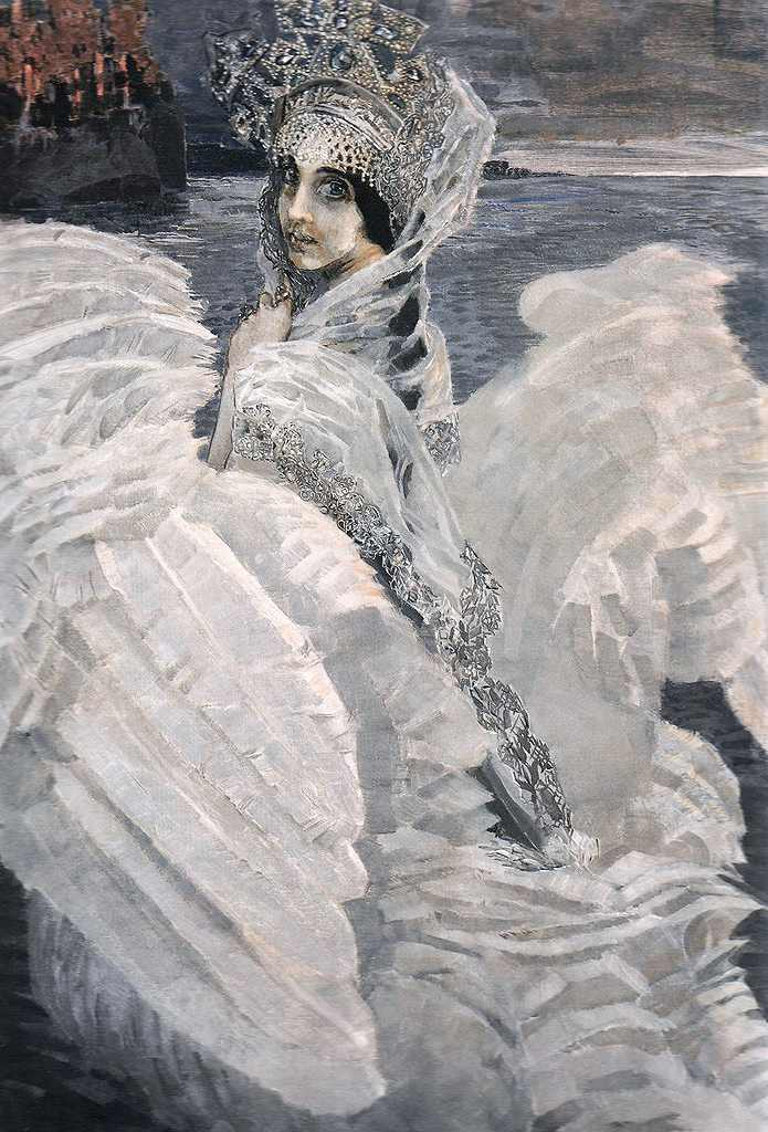 絵画 インテリア 額入り 壁掛け 油絵  ミハイル・ヴルーベリ 白鳥の王女  F15サイズ F15号  652x530mm 油彩画 複製画 選べる額縁 選べるサイズ