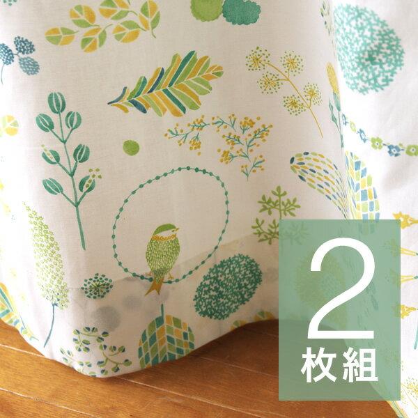 《2枚組》 カーテン [Collection / spring and summer ー採集 春と夏ー 幅100×丈200cm] グリーン
