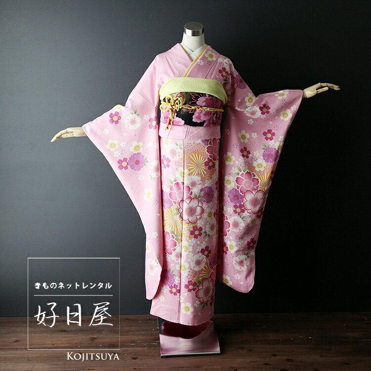振袖 レンタル 結婚式 成人式 結納 ピンク 着物 セット 正絹 フルセット pi-015