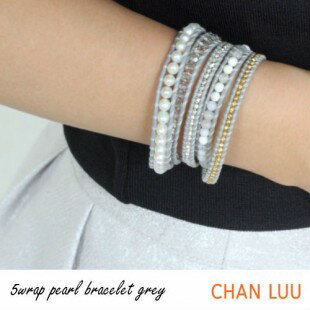 【CHAN LUU [チャンルー] 正規販売店】SPECIAL PEARL パール GREY 5連 ラップ レザーブレス