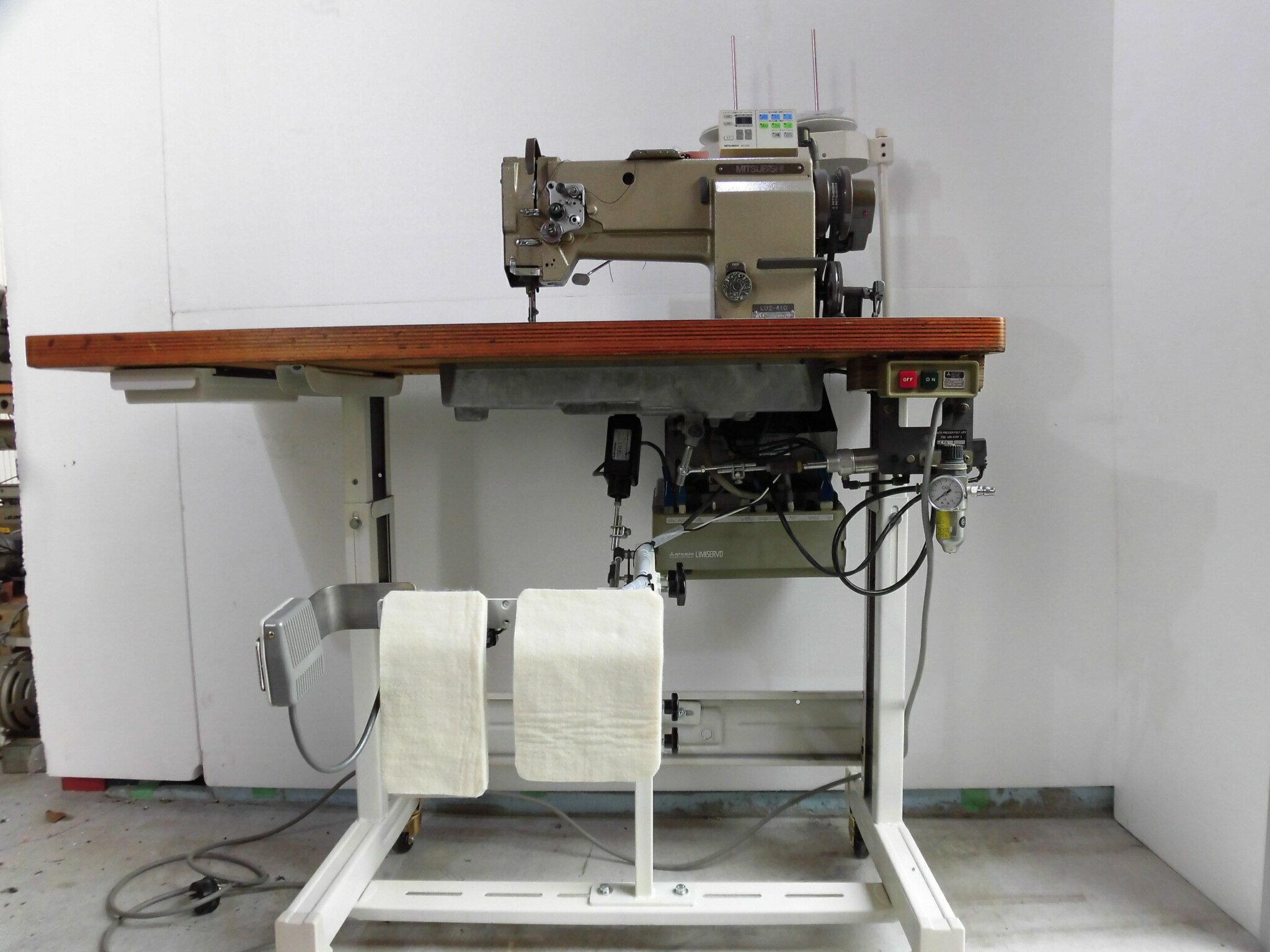 【中古】SSM-1532 立ミシン仕様 三菱 MITSUBISHI ミツビシ 三菱ミシンLU2-410 1本針本縫いミシン総合送り機構自動糸切ミシン、エアー式押さえ機能付き。三相200V仕様です。100V仕様が必要なお客様はご相談ください。