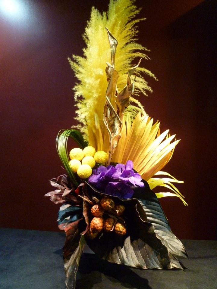アレンジメント ビローヤシ パンパスグラス yellow 新築祝い おしゃれ