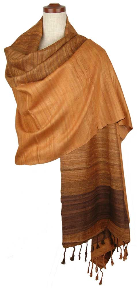 ストール ショール ローシルク オレンジ & ブラウン 200cm x 65cm GMB-0002
