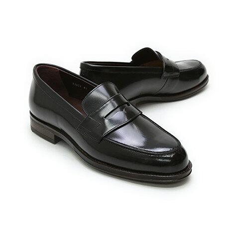 【送料無料】革靴 本革 ビジネスシューズ クインクラシコ Queen Classico メンズ ドレスシューズ 紳士靴 82001 BK ローファー 日本製(国産)