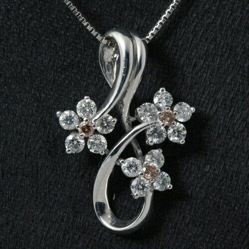 K18WG ブラウンダイヤモンド 0.12ct ダイヤモンド 0.93ct ネックレス
