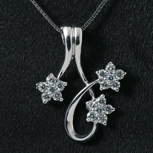K18WG ブルーダイヤモンド(トリート) 0.062ct ダイヤモンド 0.525ct ネックレス