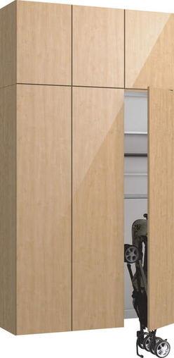 ハピアプレミア 玄関収納 開き戸ユニット グロス調 ハンドルレス 2300高/1200mm幅 メープル柄(ミルベージュ) 大建工業の建具