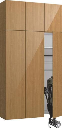 ハピアプレミア 玄関収納 開き戸ユニット グロス調 ハンドルレス 2300高/1200mm幅 チェリー柄(ティーブラウン) 大建工業の建具
