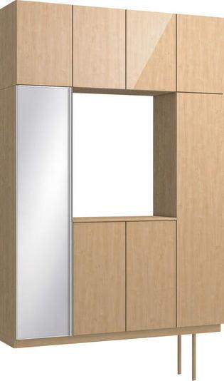 ハピアプレミア 玄関収納 開き戸ユニット グロス調 ハンドルレス 2300高/1600mm幅 メープル柄(ミルベージュ) 大建工業の建具
