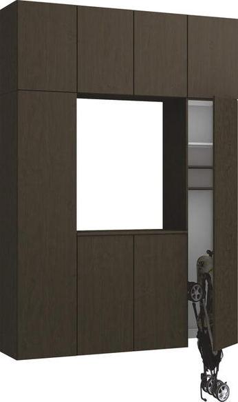 ハピアプレミア 玄関収納 開き戸ユニット 銘木ウッド調 ハンドルレス 2300高/1600mm幅 アッシュ柄(オフブラック) 大建工業の建具