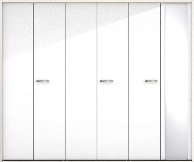 ハピアプレミア クローク収納 折戸ユニット フラットタイプ ミラー扉 グロス調 固定枠尺モジュール 四方枠 2000高 2450幅(9尺間口) ルミホワイト 大建工業の建具 ハンドル付きタイプのドア