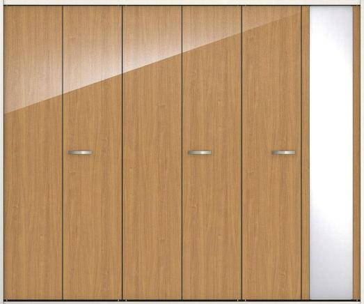 ハピアプレミア クローク収納 折戸ユニット フラットタイプ ミラー扉 グロス調 固定枠尺モジュール 四方枠 2000高 2450幅(9尺間口) チェリー柄(ティーブラウン) 大建工業の建具 ハンドル付きタイプのドア